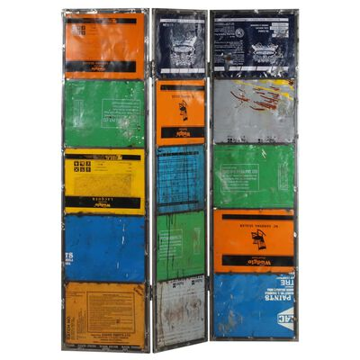 vidaXL Rumsavdelare flerfärgad 45x17x167 cm järn
