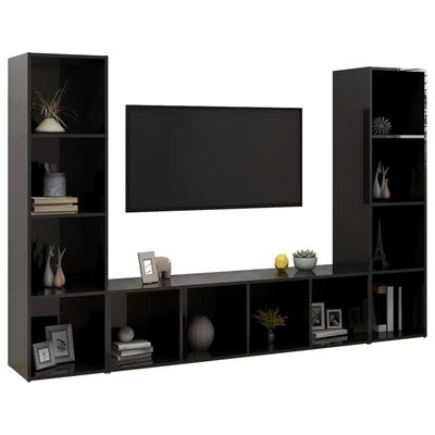 vidaXL TV-skåp 3 st svart högglans 142,5x35x36,5 cm spånskiva