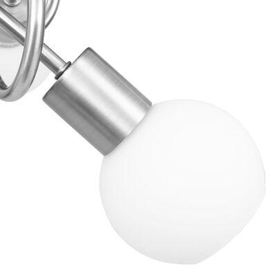 vidaXL Taklampa med keramikskärmar för 3 E14-lampor vit klot