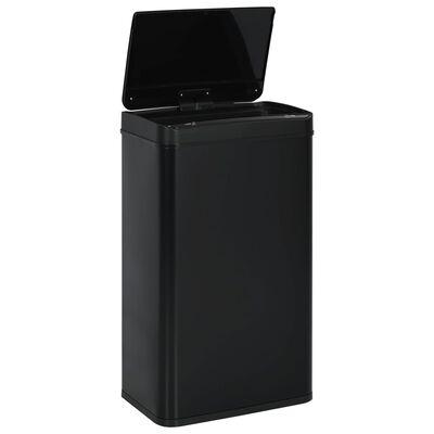 vidaXL Soptunna med automatisk sensor svart stål 70 L, Svart