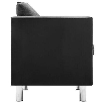 vidaXL Fåtölj svart och ljusgrå konstläder