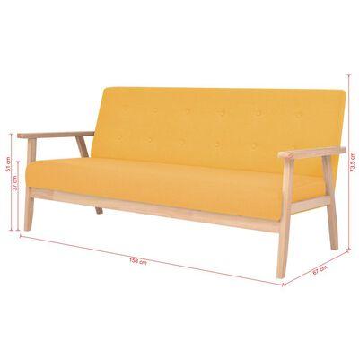 vidaXL 3-sitssoffa tyg gul