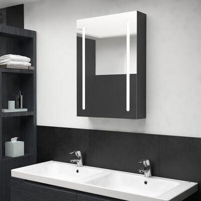 vidaXL Spegelskåp med LED svart 50x13x70 cm