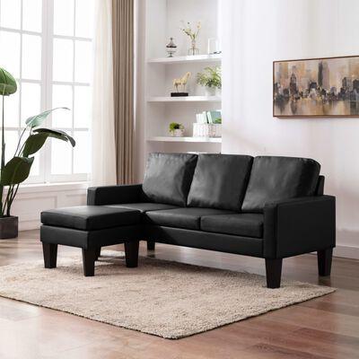 vidaXL 3-sitssoffa med fotpall svart konstläder