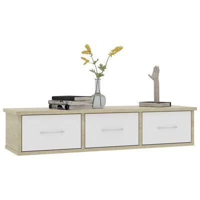 vidaXL Väggmonterade lådor vit och sonoma-ek 88x26x18,5 cm spånskiva