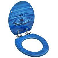 vidaXL Toalettsits med mjuk stängning MDF vattendroppar blå