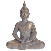 ProGarden Sittande Buddha 50 x 28 x 62,4 cm grå guld