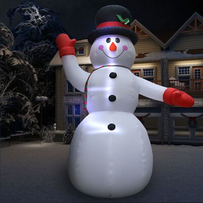 vidaXL Uppblåsbar snögubbe 10m XXL högtrycksblås