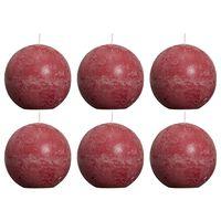 Bolsius Rustika klotljus 6 st 80 mm vinröd