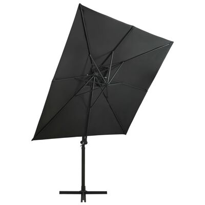 vidaXL Frihängande parasoll med ventilation 250x250 cm antracit