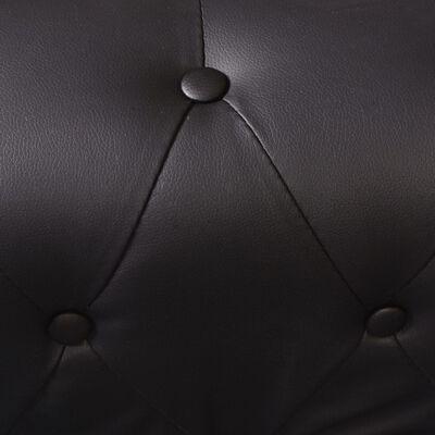 vidaXL Hörnsoffa 5-sitsig Chesterfield konstläder svart