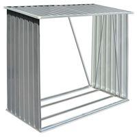 vidaXL Vedskjul i galvaniserat stål 163x83x154 cm grå
