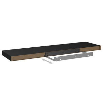 vidaXL Svävande vägghyllor 2 st svart 90x23,5x3,8 cm MDF