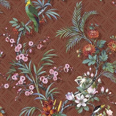 DUTCH WALLCOVERINGS Tapet Tropical rödbrun