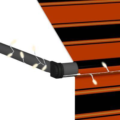 vidaXL Markis manuellt infällbar med LED 350 cm orange och brun