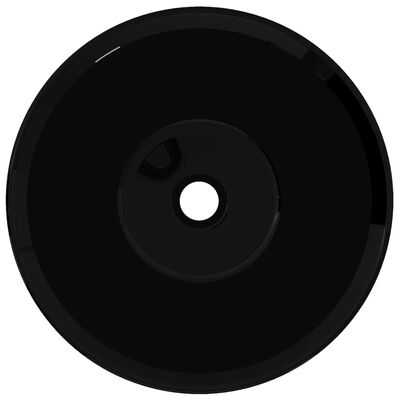 Handfat i glansig svart keramik rund