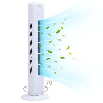 vidaXL Tornfläkt med timer Φ24x80 cm vit