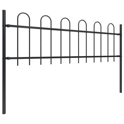 vidaXL Trädgårdsstaket med böjd topp stål 8,5x0,6 m svart
