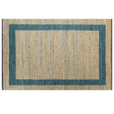 vidaXL Handgjord jutematta blå 80x160 cm