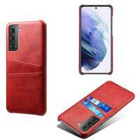 Retro Skal Med Kortplatser Samsung Galaxy S21 Plus-röd