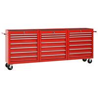 vidaXL Verktygsvagn med 21 lådor stål röd