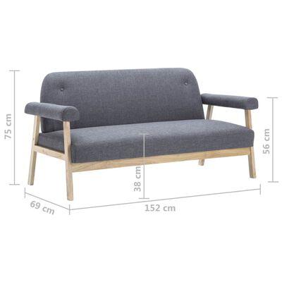 vidaXL 3-sitssoffa tyg mörkgrå