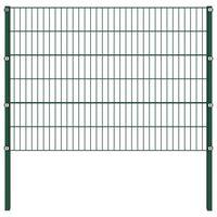 vidaXL Stängselpanel med stolpar järn 17x1,2 m grön