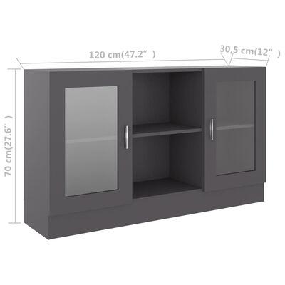 vidaXL Vitrinskåp grå 120x30,5x70 cm spånskiva