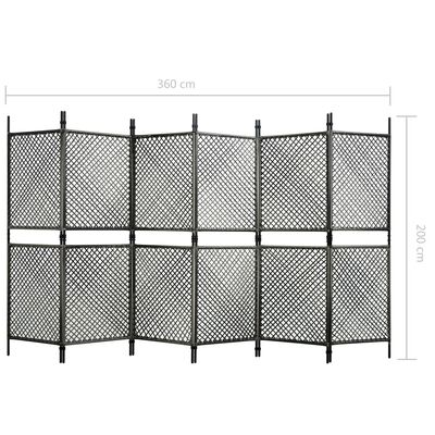 vidaXL Rumsavdelare 6 paneler konstrotting antracit 360x200 cm