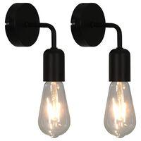 vidaXL Vägglampor 2 st med glödlampor 2 W svart E27