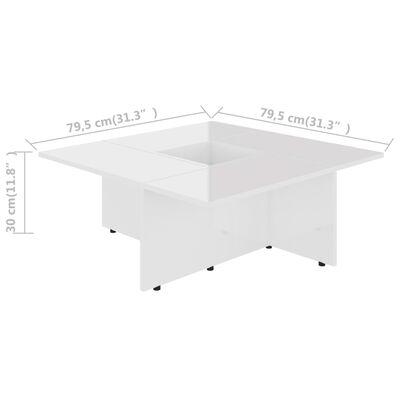 vidaXL Soffbord vit högglans 79,5x79,5x30 cm spånskiva