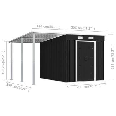 vidaXL Trädgårdsbod med förlängt tak antracit 346x236x181 cm stål