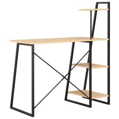 vidaXL Skrivbord med hyllenhet svart och ek 102x50x117 cm