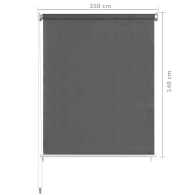 vidaXL Rullgardin utomhus 350x140 cm antracit