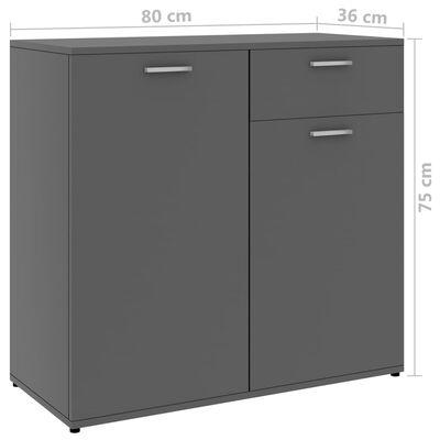 vidaXL Skänk grå 80x36x75 cm spånskiva