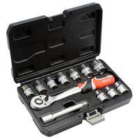 YATO Hylsnyckelsats med spärrhandtag 12 delar YT-38671