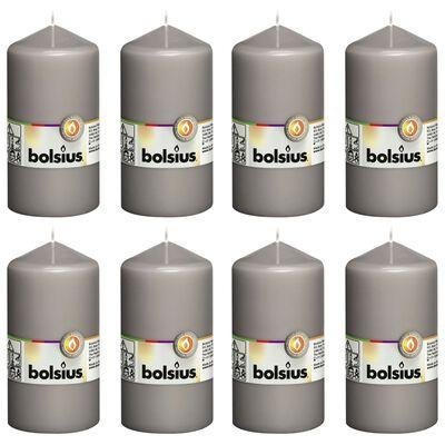 Bolsius Blockljus 8 st 130x68 mm varm grå