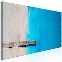 Tavla - Sea And Wooden Bridge (1 Part) Narrow Blue - 120x40 Cm
