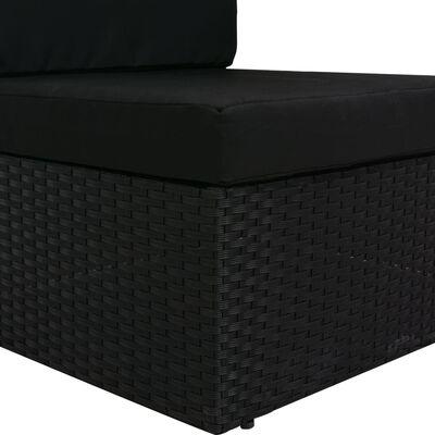 vidaXL Modulsoffa 2-sits konstrotting svart