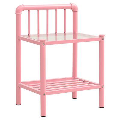 vidaXL Nattduksbord rosa och transparent 45x34,5x62,5 cm metall och glas
