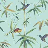 Noordwand Tapet Kolibri and Bamboo turkos