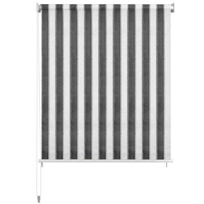 vidaXL Rullgardin utomhus 180x230 cm antracit och vita ränder