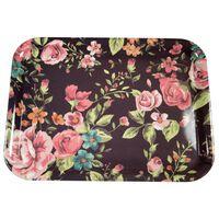ILAB Bricka Rosor svart/rosa 43x22 cm