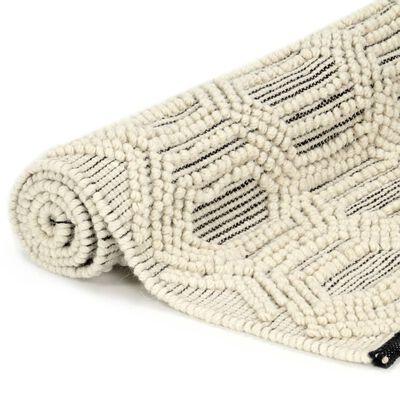 vidaXL Matta handvävd ull 160x230 cm vit/svart