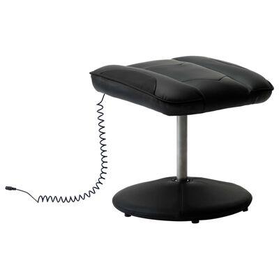 vidaXL Massagefåtölj med fotpall svart konstläder