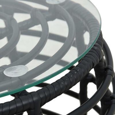 vidaXL Caféset 3 delar konstrotting svart