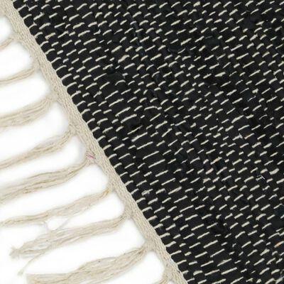 vidaXL Handvävd matta Chindi läder 80x160 cm ljusgrå och svart