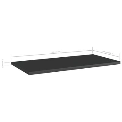 vidaXL Hyllplan 4 st svart högglans 60x30x1,5 cm spånskiva