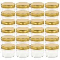 vidaXL Syltburkar i glas med guldfärgade lock 24 st 110 ml