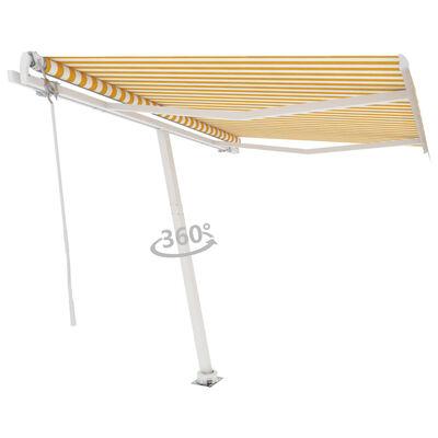 vidaXL Fristående markis automatisk 300x250 cm gul/vit